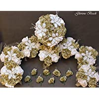 Sage Green BEADED Flower Lily Wedding / Quincenarea Bouquet 16 PC Set with FREE Boutonnieres