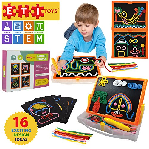 ETI Toys Lace and Trace with Board for Boys and Girls 58 Piece set for endless fun! Great for Learning, Developing and Having Fun. Draw your design Today!