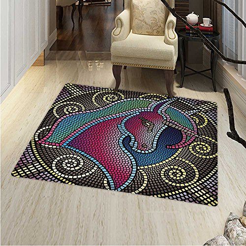 Fantasy Area Rug Fractal Unicorn Figure Mosaic Art Tile Effects Girlish Creature Display Print Indoor/Outdoor Area Rug 2'x3' Multicolor