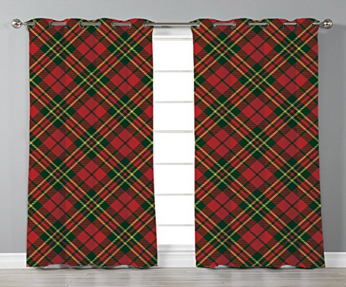 Thermal Insulated Blackout Grommet Window Curtains,Checkered,Irish Tartan Plaid Motifs in Christmas Colors Geometrical Crossed Stripes Decorative,Red Emerald Yellow,2 Panel Set Window Drapes,for Livin