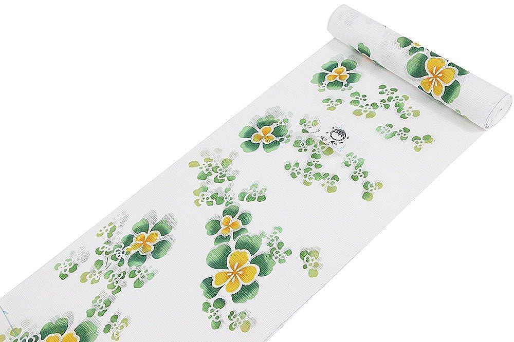 2018年 竺仙謹製 女物浴衣 反物 白×緑×黄 綿100% 綿絽 白地 日本製 ブランド   B07C5K7KFZ