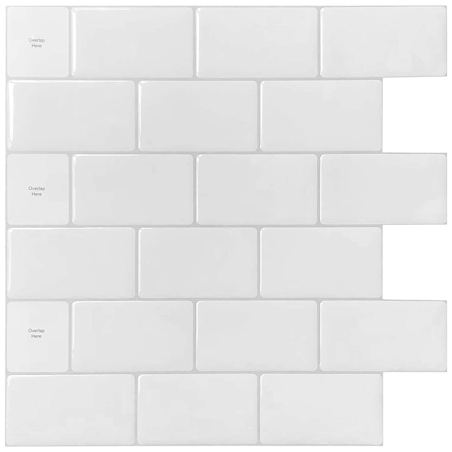 "10-Sheets Peel and Stick Tile for Kitchen Backsplash, 12""x12"" White Subway Tile with Grey Grount"