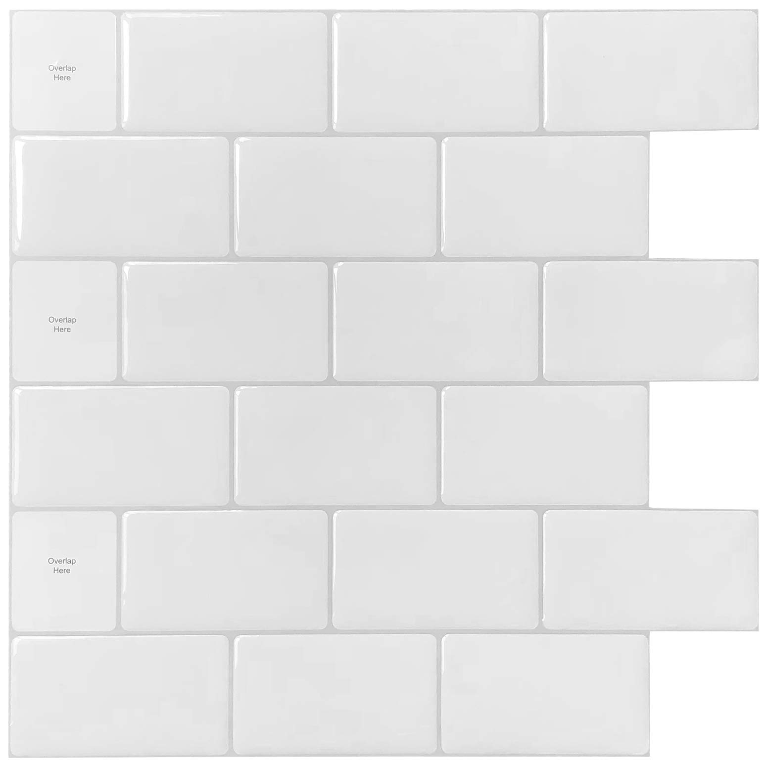 LONGKING 12''x12'' Peel and Stick Tile for Kitchen Backsplash, White Subway Tile, (10 Sheets) by LONGKING