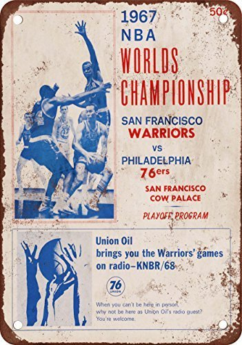 1967 Pro Basketball Championship 76ers vs. Warriors Vintage Look Reproduction Metal Tin Sign 8X12 inches