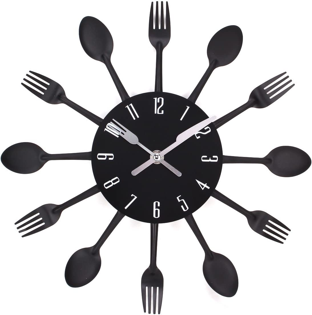 UNIQUEBELLA Kitchen Wall Clocks 3D Art Decorative Hanging Removable Clock with Forks and Spoons for Home Decor (12.9in-Black)