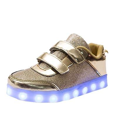 07de67505df1b DoGeek LED Schuhe Kinder Damen 7 Farbe USB Aufladen Leuchtend Sportschuhe  Led Kinder Farbwechsel Sneaker Turnschuhe für Herren Damen (Bitte bestellen  Sie ...