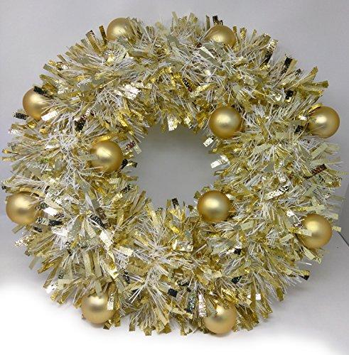 Sparkling Gold Tinsel Artificial Christmas Wreath 20