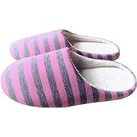 Lodenlli Zapatillas de Piso de Interior para el hogar de Felpa Suave y cálida de Invierno Zapatos de Mujer/Hombre Paño a…