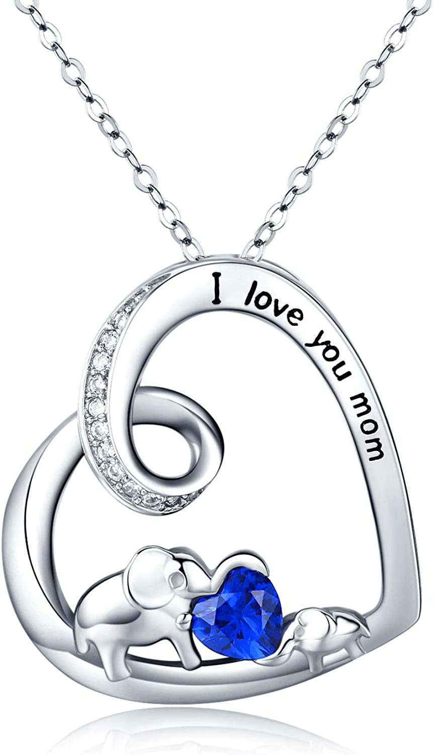 CUOKA MIRACLE Elephant Necklace Mom Necklace Mother Daughter Necklace Sterling Silver Gift for Women Men