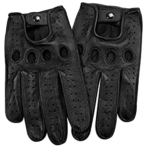 Genuine Nappa leather Driving Gloves Touchscreen Full finger Cycling Gym