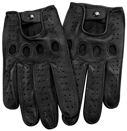 Genuine Nappa leather Driving Gloves Touchscreen Full finger Cycling Gym M BK