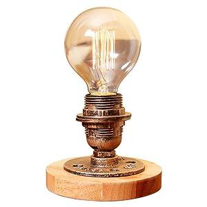 Modeen Lampe de table industrielle vintage Lampe de table Steampunk Style d'arrosage rustique Lampe de table de chevet pour maison Salle d'étude Chambre Bibliothèque Hôtel Barn Lampes de bureau