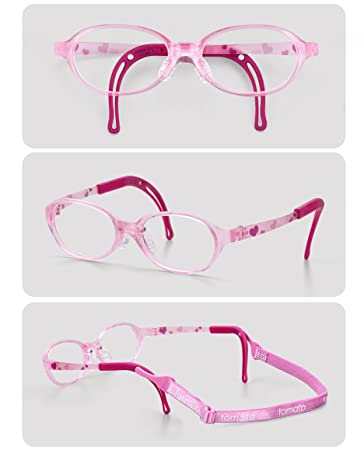 Amazon.com: Eyeglass Frames for Kids, TKAC14-43, Pink Color, Light ...