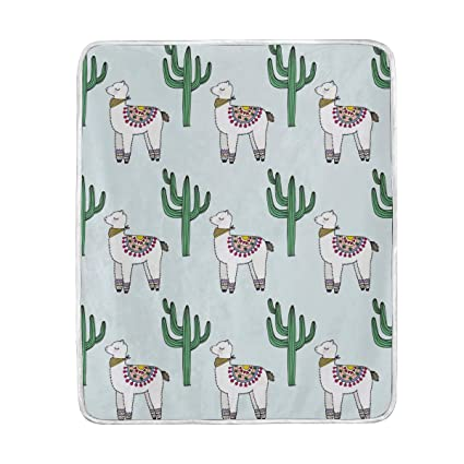 Amazon.com  Cactus Alpaca Cute Throw Blanket for Couch Bed Living ... 4512ad6b94