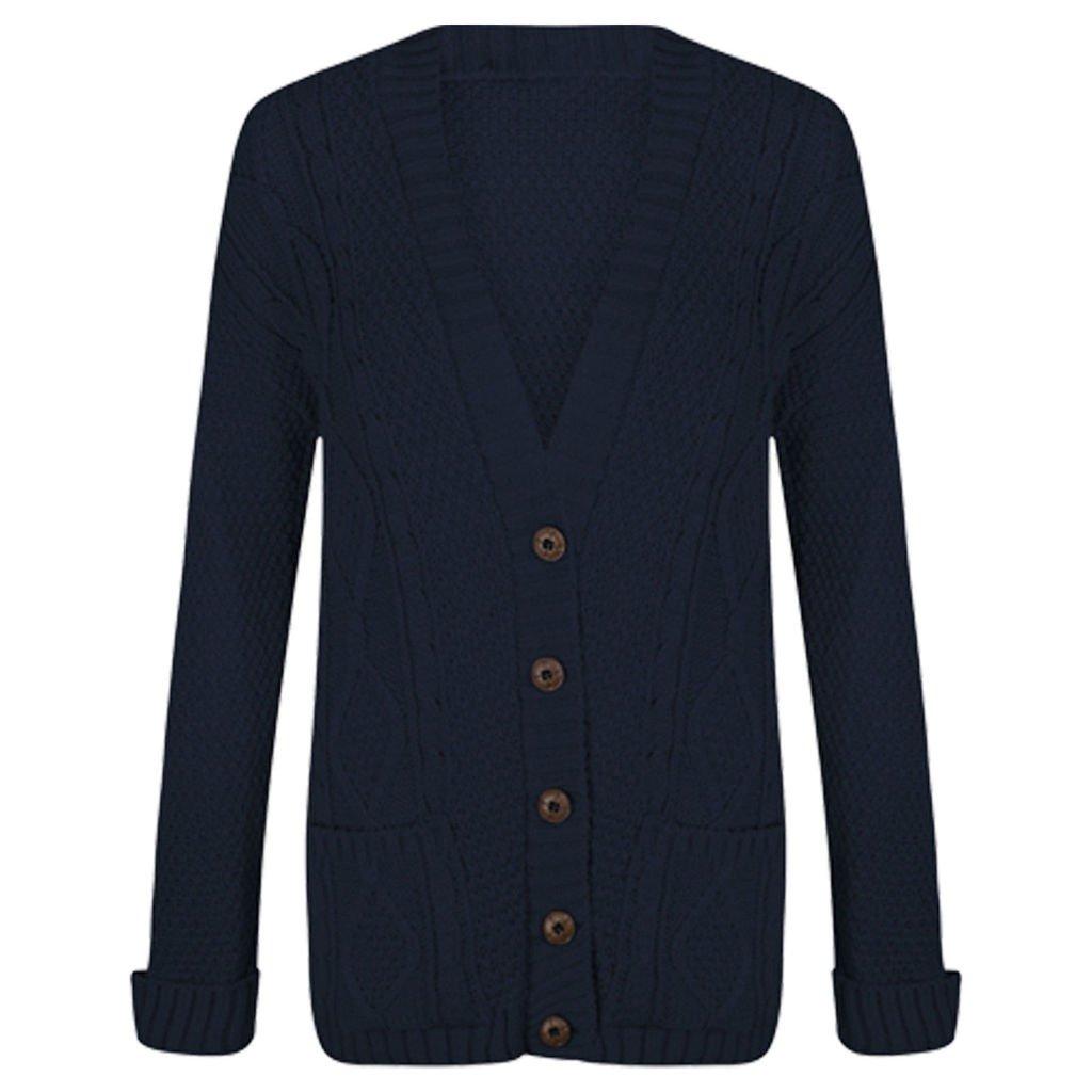 29b1c2753924 Womens Cable Knit Chunky Ladies Grandad Boyfriend Pocket Button up Top  Cardigan  Amazon.co.uk  Clothing