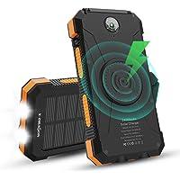 X-DRAGON Batería Solar, 24000mAh Qi Cargador Portátil Inalámbrico Batería Externa con Entrada Dual (USB C y Micro…