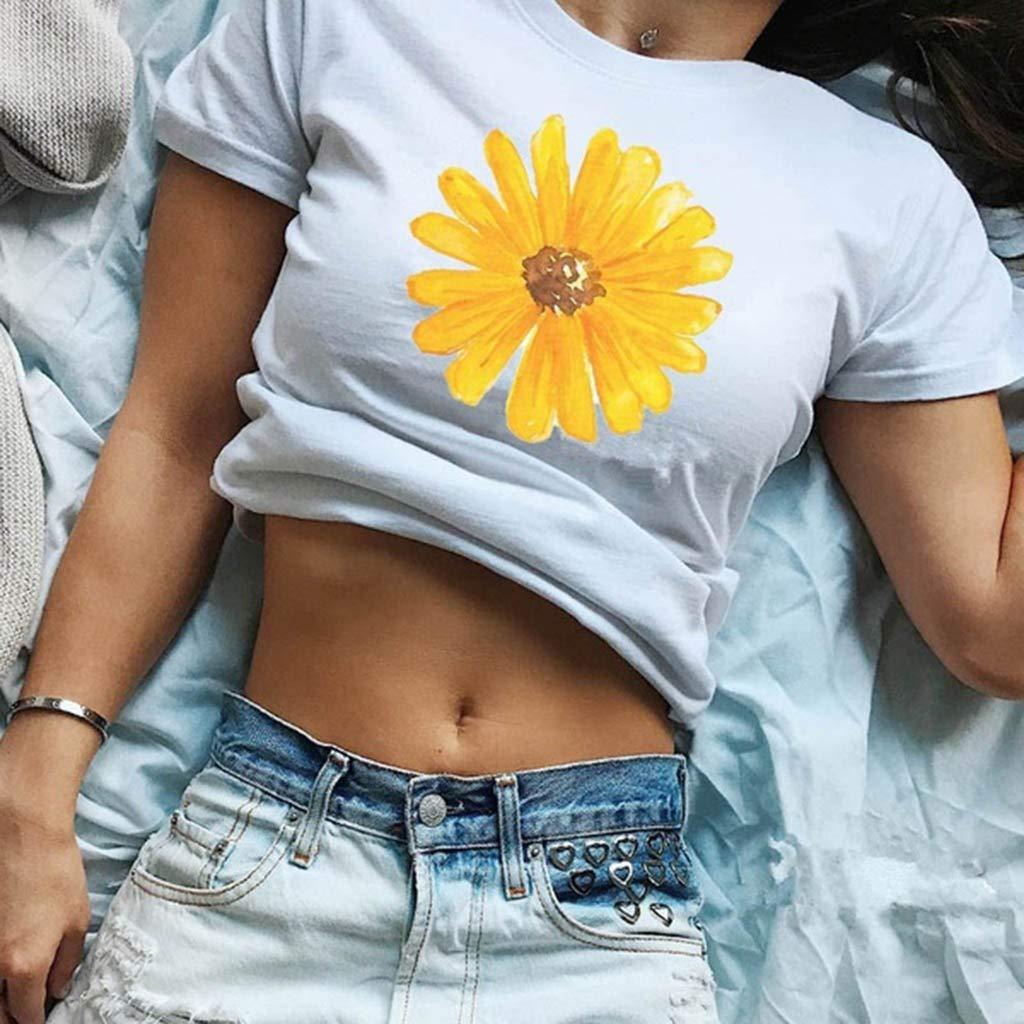 HIKO23 Womens Casual Summer T-Shirt Flower Print Round Neck Blouse Short Sleeve Cute Tunic Tees Basic Shirts