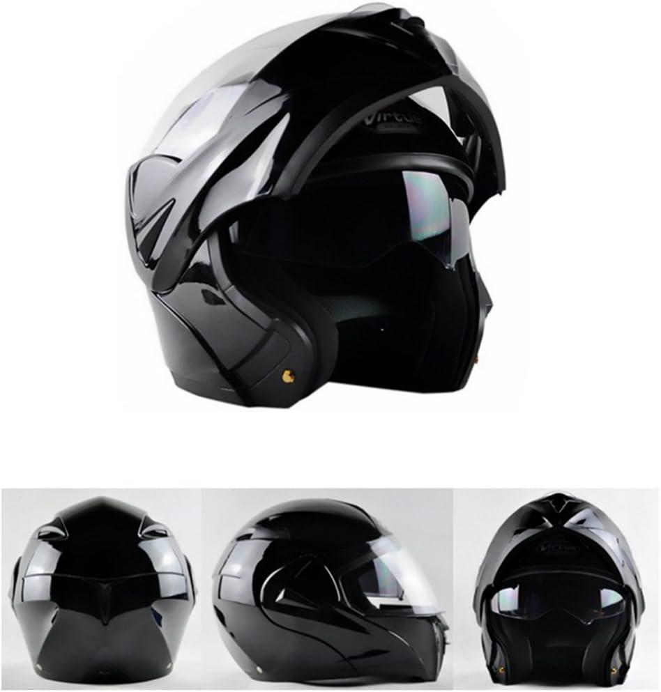 Lidauto Cascos llenos Motocicleta Montar Caballo al Aire Libre Verano para Hombres Mujeres,Bright-Black,L
