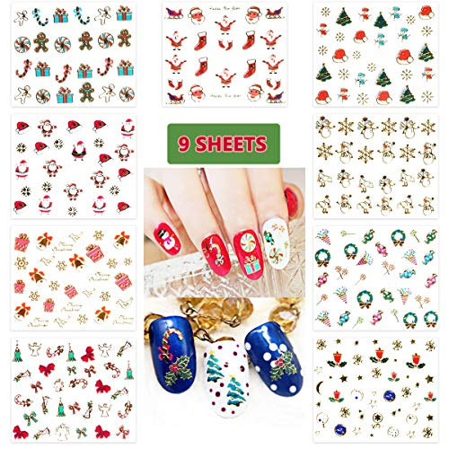 Ginfonr 9 Sheets Christmas Nail Decals DIY Water Transfer Sticker Glitter Self-Adhesive Set, Snowman Santa Claus Xmas Tree Design Art Decoration for Women Girls Kids (300 -
