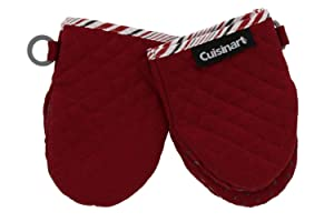 Cuisinart Silicone Mini Oven Mitts, 2 Pack – Little Oven Gloves for Cooking - Heat Resistant, Non-Slip Grip, Hanging Loop, 7 x 5 Inches - Ideal for Handling Hot Kitchen / Bakeware Items - Red Dahlia