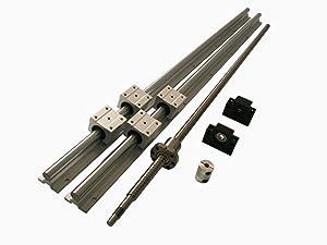 Hezukyp CNC SBR16 Support Rail RM1204 ballscrew 400mm Linear Motion Kit