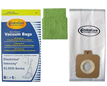 electrolux bags amazon. electrolux intensity el5020 envirocare vacuum cleaner bags / 6 pack + 1 motor filter - generic amazon e