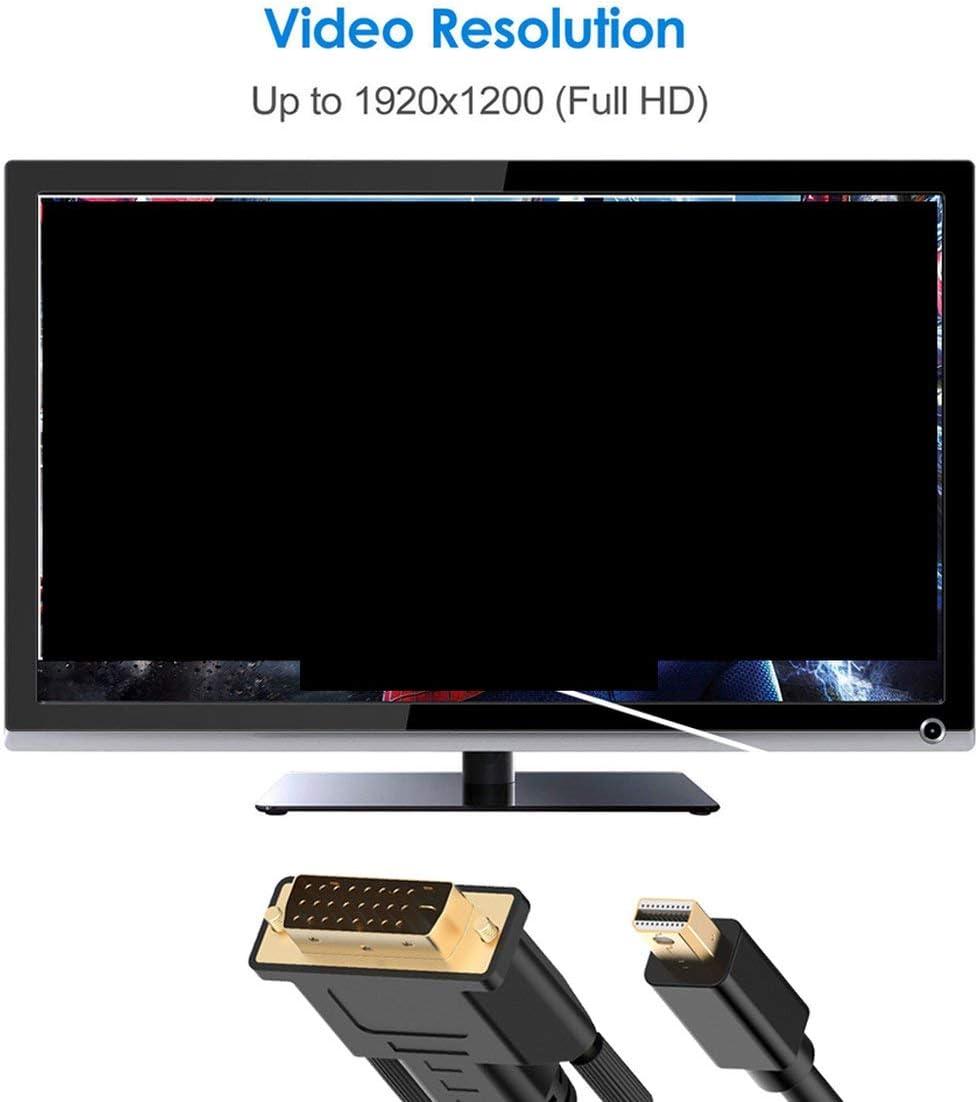 C/âble Compatible Mini Displayport Mini DP Noir 1 M Compatible Thunderbolt Port vers Dvi Plaqu/é Or