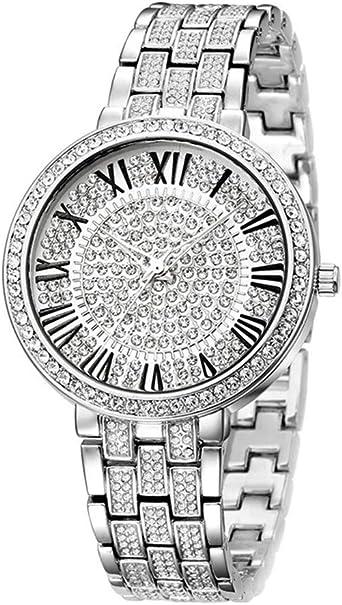 Reloj Diamantes completos Reloj de Movimiento de Cuarzo de Japón Caja de Acero Inoxidable Hebilla Reloj de Pulsera Unisex a Prueba de Agua para Mujeres Hombres: Amazon.es: Relojes