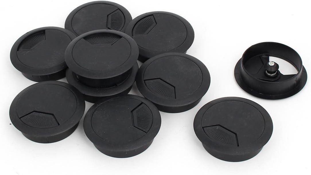 Aexit Ordinateur Bureau Plastique Rotatif /œillet C/âble Couvre-trou Noir 53mm Diam/ètre 10pcs 850A282