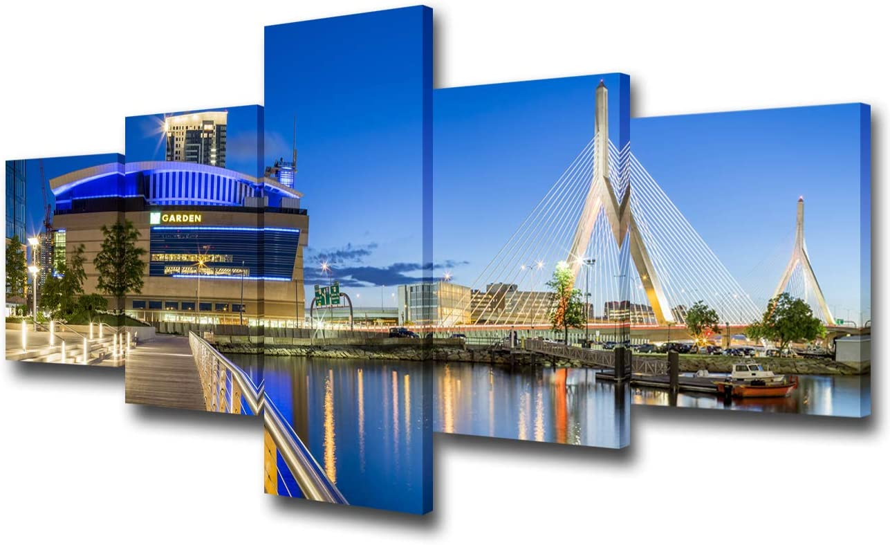 American Canvas Wall Art TD Garden Stadium Building Painting Blue Skyline Picture USA Night Landscape Artwork Home Modern Decor Living Room Framed Stretched Ready to Hang 5 Panel(50Wx24H inches)