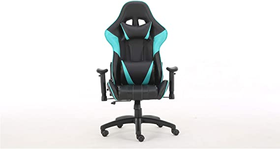 Gaming Chair Office Chair Ergonomic Reclining Padded armrests Height Adjustable with Headrest and Lumbar Pillow E-Sports Chair (Blue)