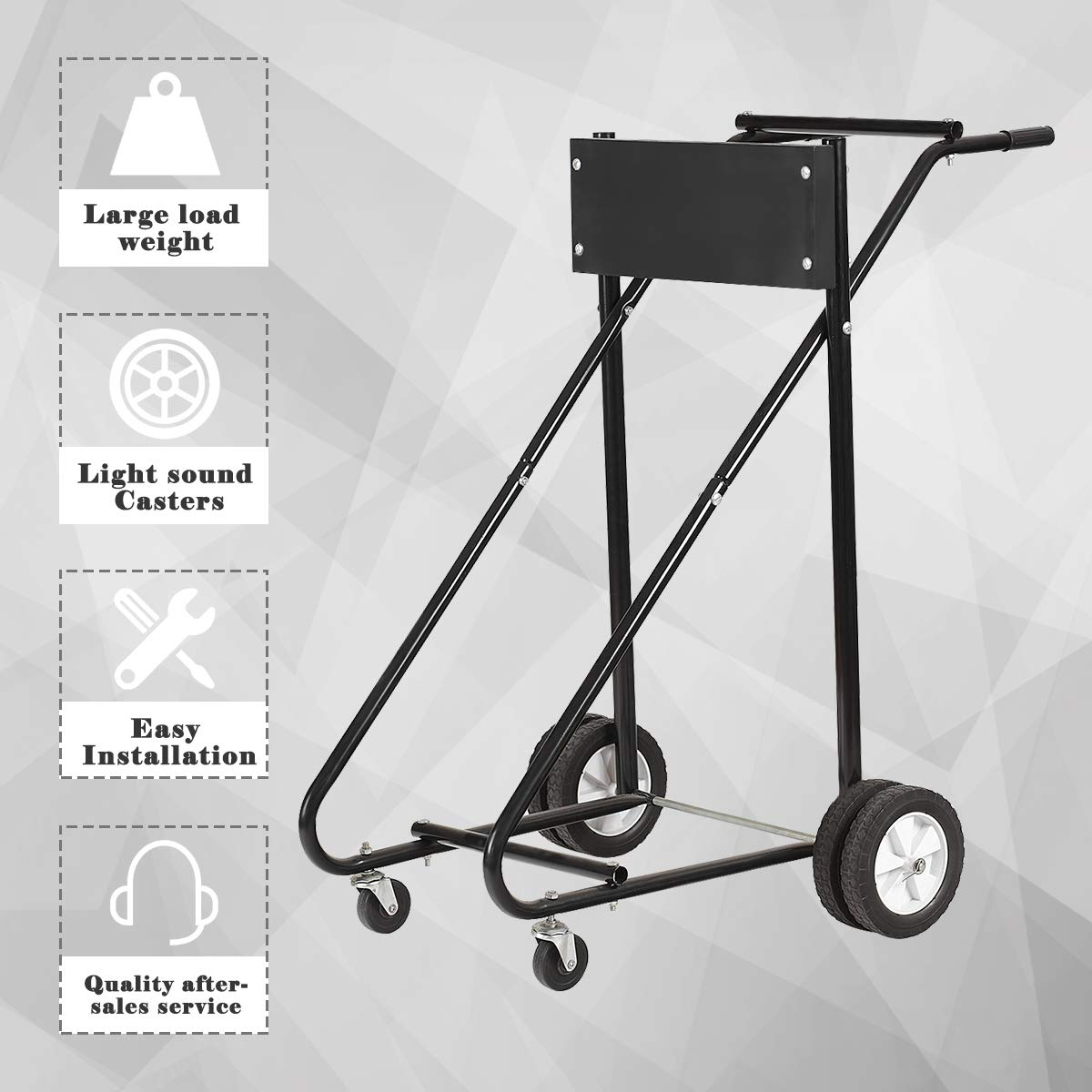 315 LBS Heavy Duty Pro Outboard Engine Carrier Cart Dolly Storage Black Goplus Boat Motor Stand Black
