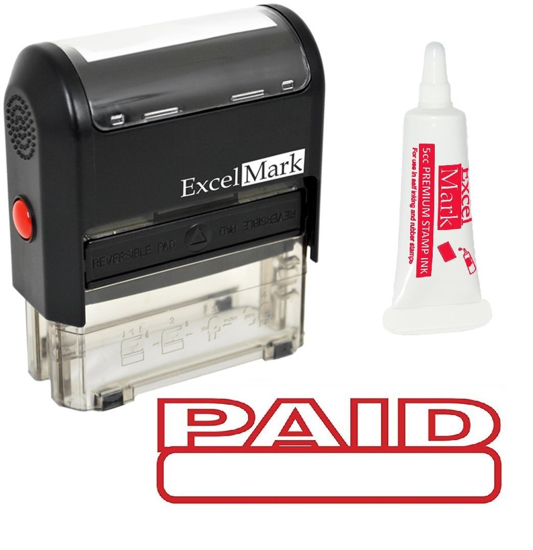 ExcelMark Paid Self Inking Rubber Stamp - Red Ink with 5cc Refill Ink by ExcelMark (Image #1)