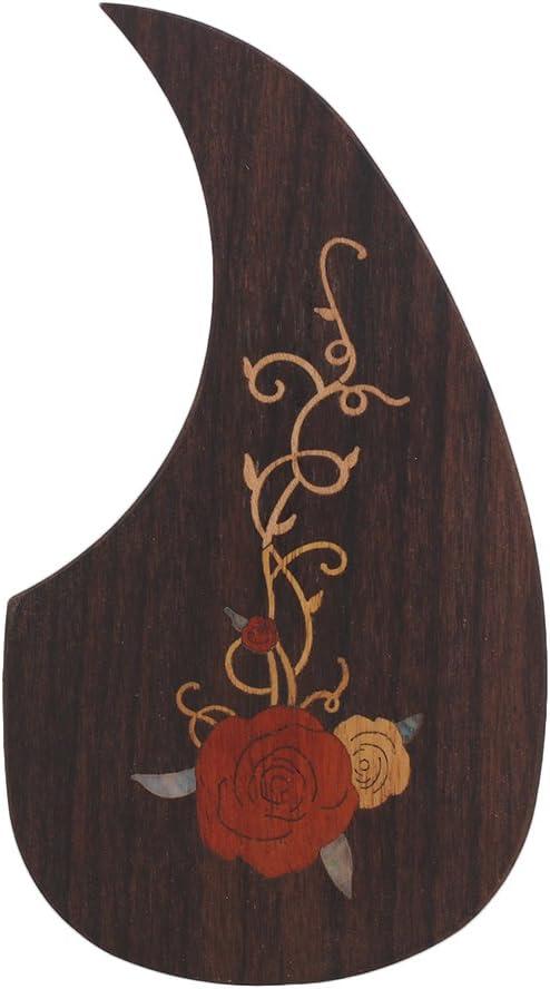 Etiquetas adhesivas de incrustación Rose Pattern Guitarra de madera Pickguard Scratchplate con adhesivo de doble cara para guitarra de madera de 40-41 pulgadas