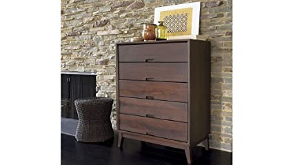 Aprodz Mango Wood Storage Cabinet Cruz Chest of 5 Drawers Furniture for Living Room   Red Berry