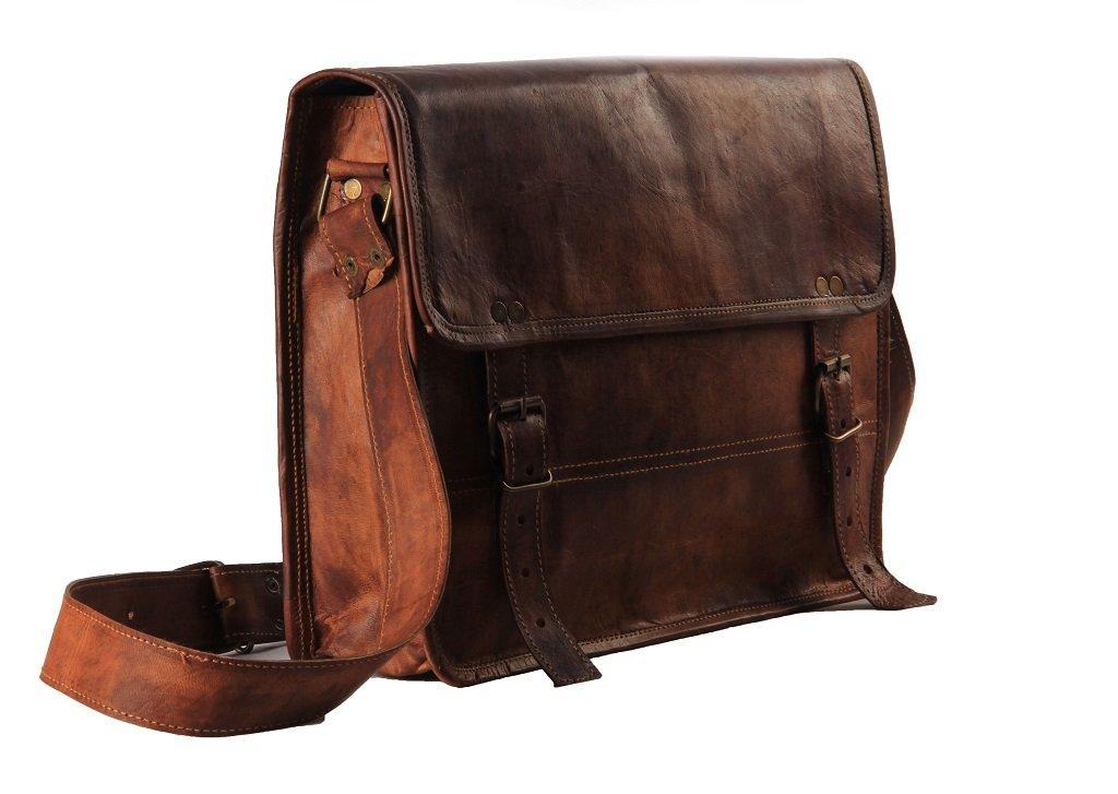 Amazon.com: Men's Leather Messenger Satchel Shoulder Briefcase ...