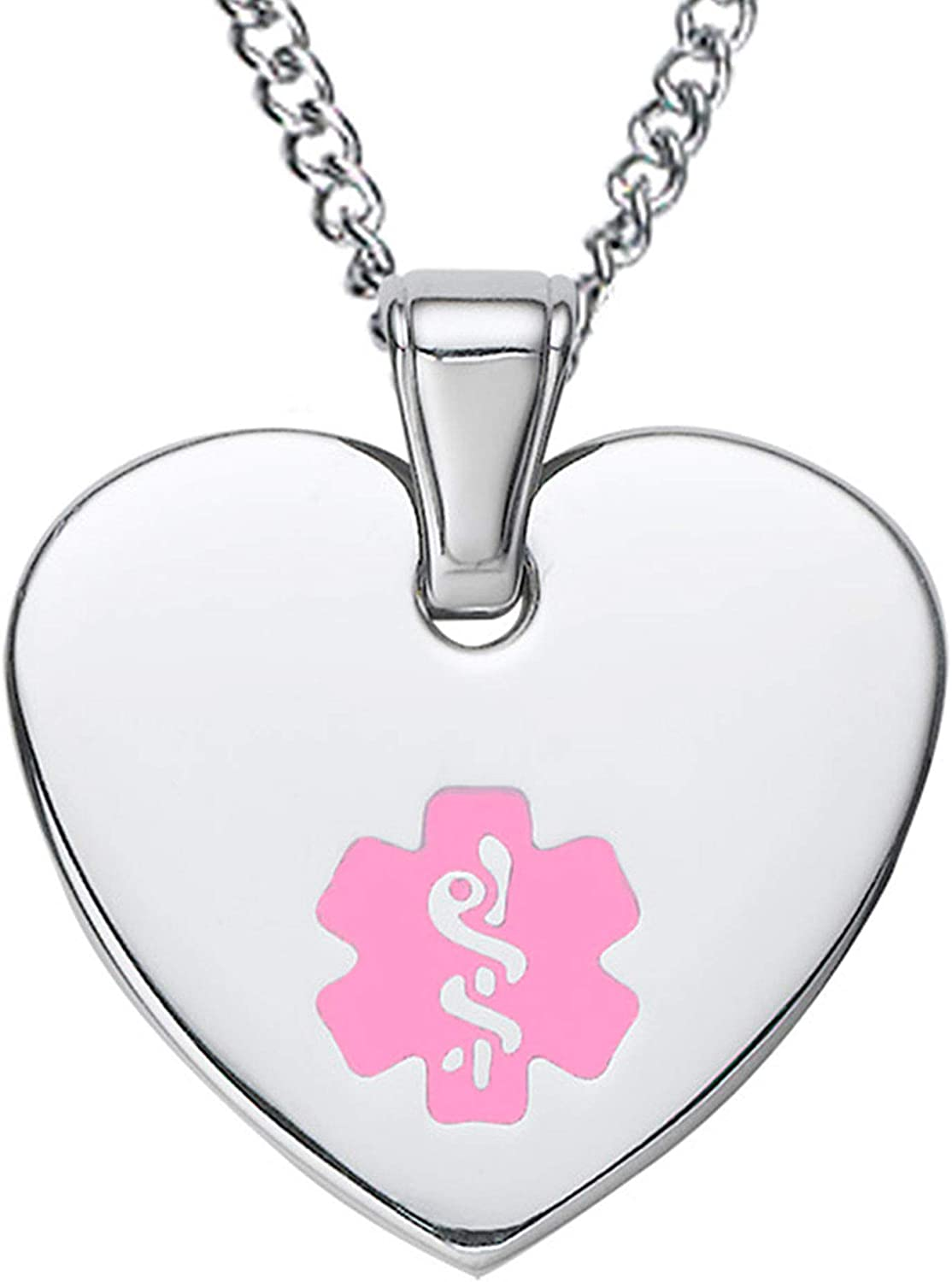 Divoti Deep Custom Laser Engraved Stainless Steel Medical Alert Necklace for Women, Heart Tag Medical ID Necklace, Medical Pendant Tag w Free Engraving -24 28 Various Chain -Color Options