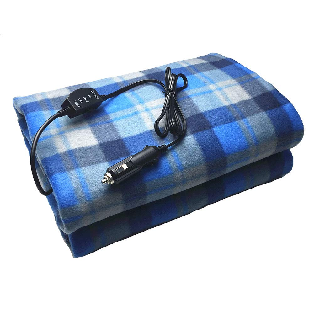 C Automotive Heated Electric Throw Electric Car Blanket for Cold Weather blue--net 12V Car Electric Heated Travel Blanket Tailgating and Emergency