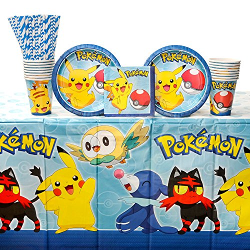 Pokemon Core Birthday Party Supplies Pack for 16 Guests: Straws, Dessert Plates, Beverage Napkins, Table Cover, and -