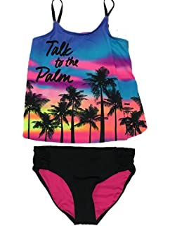 b52c8cfb44d Amazon.com: Justice Girls Swimwear Mermaid Scales Tiered Tankini Set ...