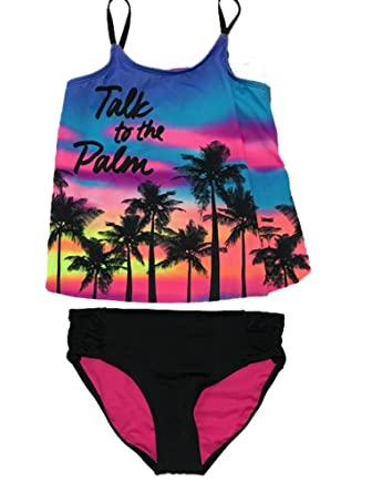 4723620285db4 Amazon.com: Justice Girls Swimwear Talk to The Palm Tankini Set ...