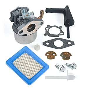 HIFROM Replaces New Carburetor Carb for Briggs & Stratton 798653 697354 790290 791077 698860 with Air Filter 491588 491588S