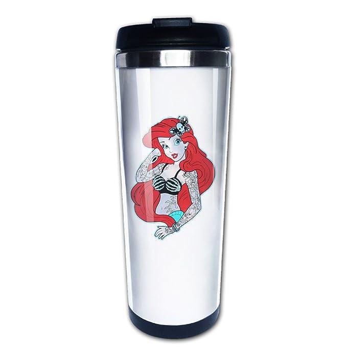 Trenzado Ariel sirenita tatuaje de viaje taza de café botella de ...