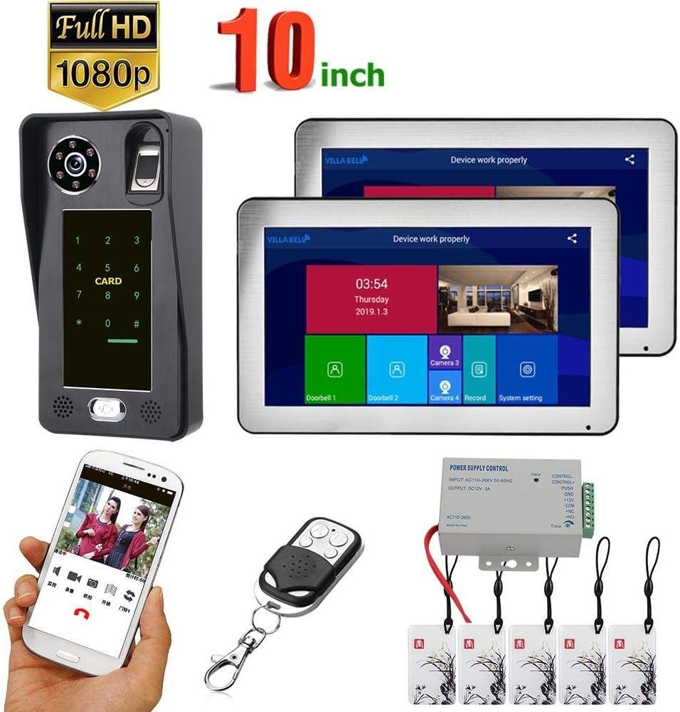 Kit de timbre DYWLQWiFi, sistema de intercomunicación inteligente de teléfono de puerta de 10 pulgadas con 1080P, monitor LCD de 2 toques, soporte, tarjetas IC, desbloqueo de contraseña