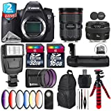 Canon EOS 6D DSLR Camera + Canon EF 24-70mm 2.8L II USM Lens + Canon EF 50mm 1.4 USM Lens + Battery Grip + 6PC Graduated Color Filer Set + 2yr Extended Warranty + 32GB - International Version