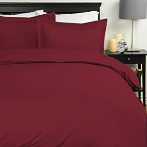 Sweet Home Collection Duvet Cover 1800 Thread Count 4 Pc Sheet Set, King, Burgundy, 7 Piece
