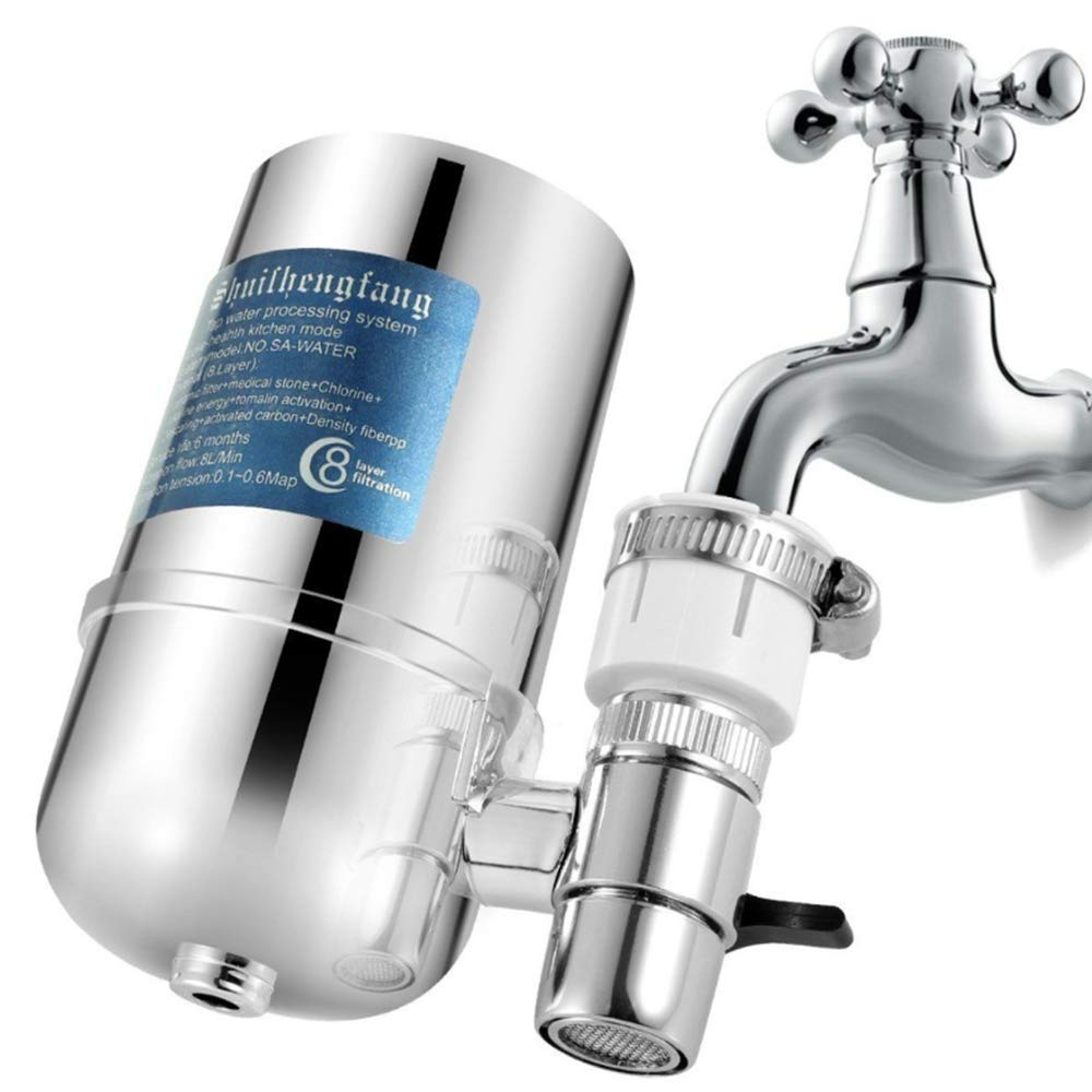 2 Pack Faucet Water Filters Water Purifier Faucet Kitchen Faucet Water Filter with a Filter Element No-Cracking No-Leakage Fast Flow Kitchen Faucet Water Filter Fits Standard Faucets Easy Install