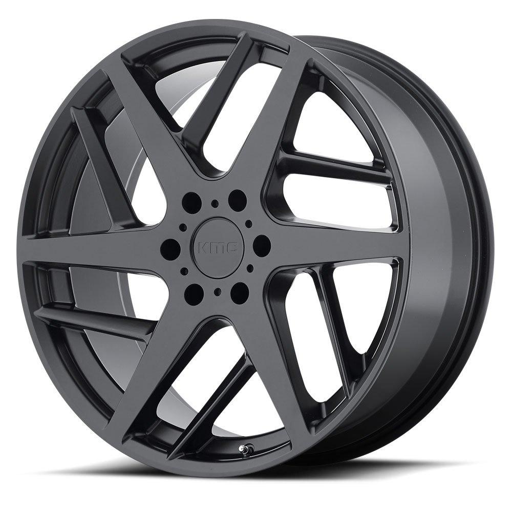 20x9.5//5x114.3mm, +45mm offset KMC Wheels KM694 Wishbone Satin Black Wheel