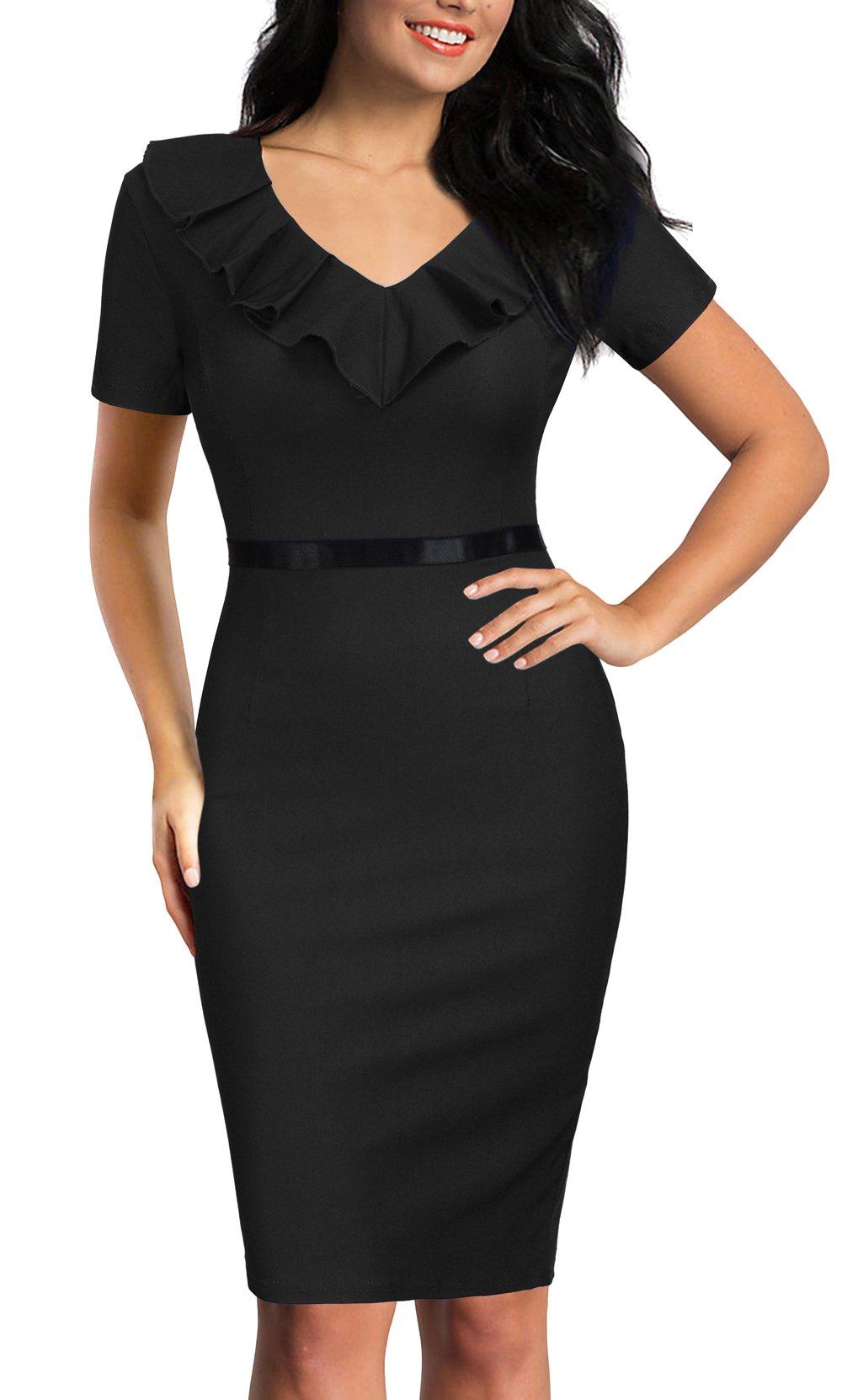 REPHYLLIS Women's Ruffles Short Sleeve Business Cocktail Pencil Dress XL Black by REPHYLLIS