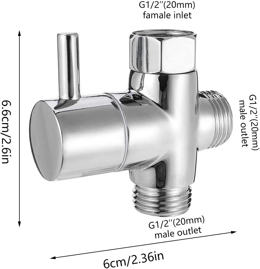TypeA angelikashalala G1//2 3-Way Shower Arm Diverter Valve Bathroom Brass Shower Faucet Switching Valve Bathroom Shower System Component Replacement Part for Hand Held Showerhead//Fixed Spray Head